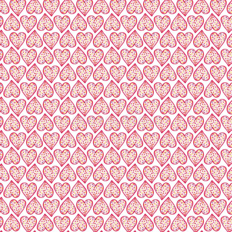 Free Hand-painted Hearts With Colorful Spots Seamless Pattern Royalty Free Stock Photography - 168086127