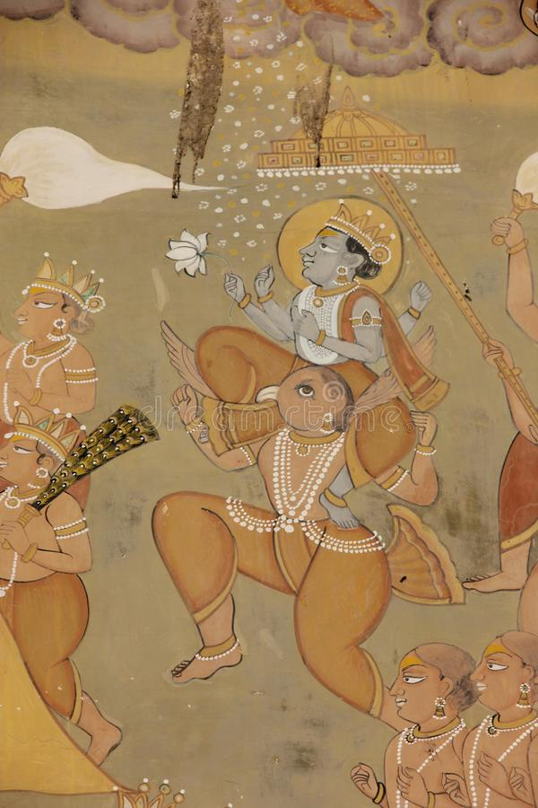 A Hand painted Fresco in Jodhpur. A Hand painted Hindu Fresco decorating a building in the city of Jodhpur, India royalty free stock photo