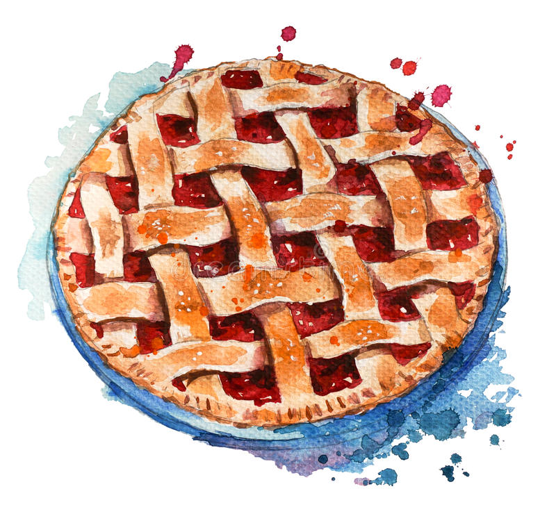 Hand painted home made berry pie. Watercolor sketch vector illustration