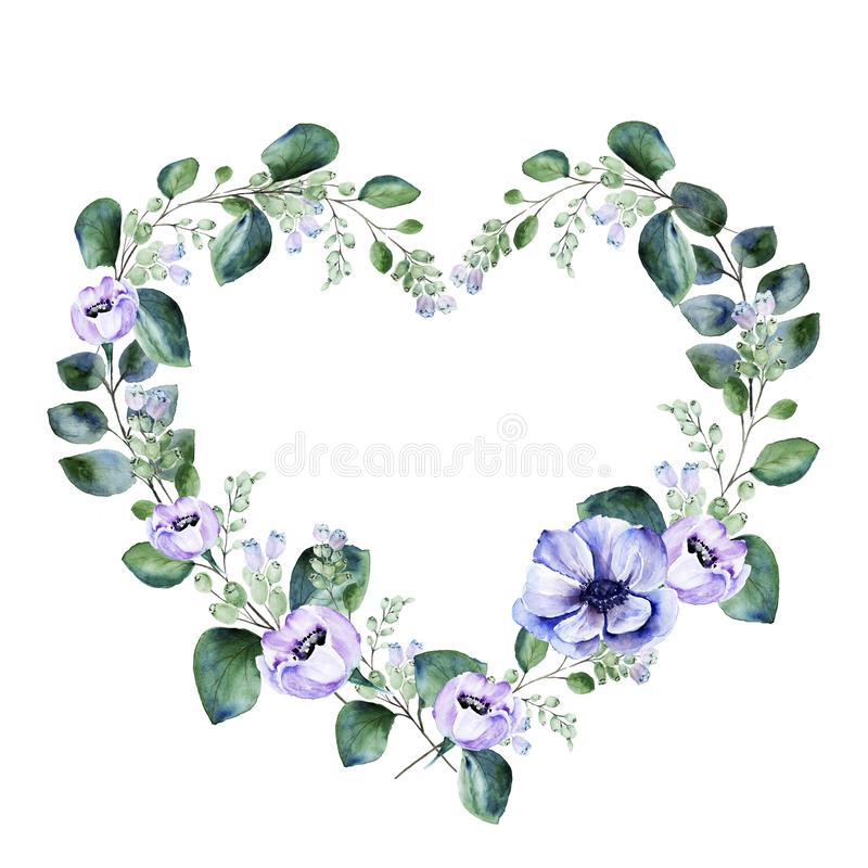 Watercolor floral heart shape frame with purple anemone flowers and blooming snowberry royalty free stock images