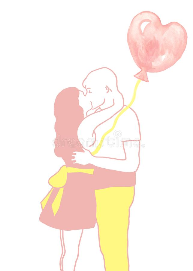 Hand painted illustration of hugging and kissing romantic couple with pink Balloon . stock illustration