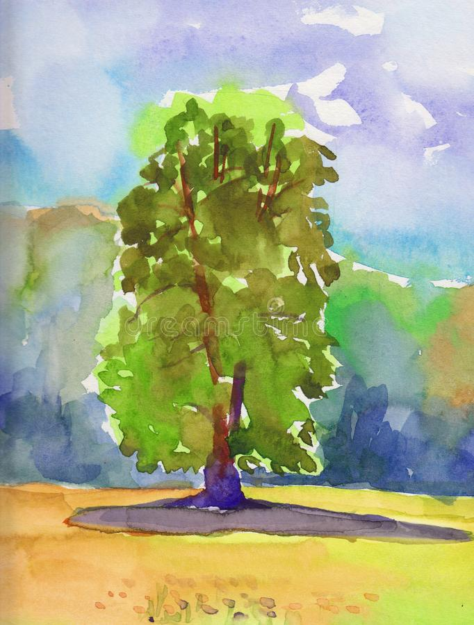Hand-painted Landscape with old big tree royalty free illustration