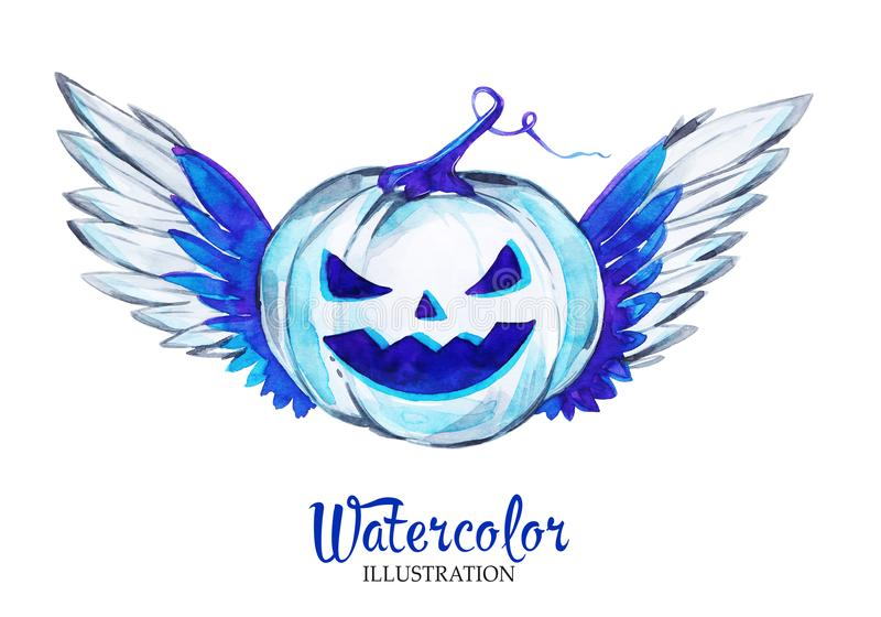 Hand painted lantern halloween pumpkin with wings. Scary monster. vector illustration