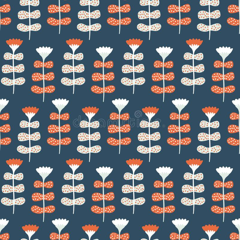 Hand painted large scale floral vector seamless pattern. Teal coral background. Stylized folk art blooms. Hand drawn pretty garden royalty free stock photography