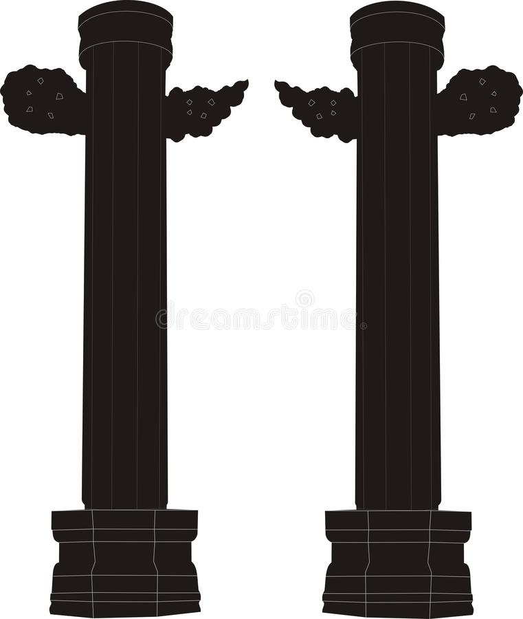 Hand-painted marble pillar