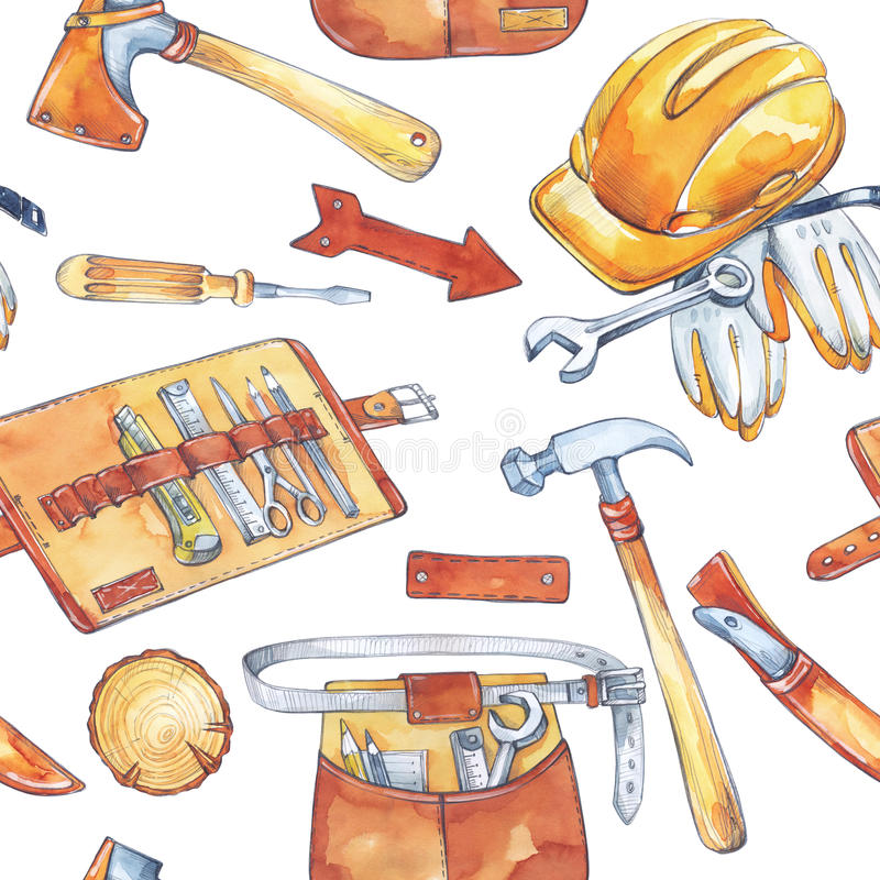 Hand painted men`s work illustration. Seamless pattern with carpentry tools. Watercolor axe, knife, hammer, helmet vector illustration