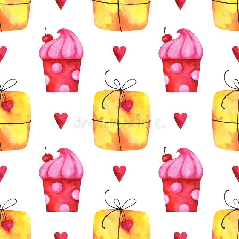 Hand painted minimalist seamless pattern with watercolor gift boxes, cake and hearts royalty free illustration