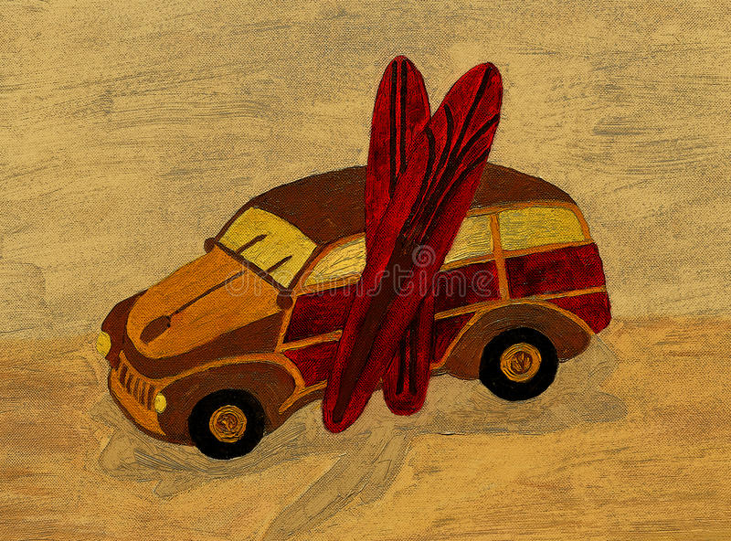 Download Oil Painting Woody Wagon And Surfboards Stock Illustration - Image: 29956269