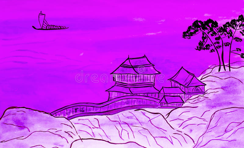 Hand painted picture in traditions of Chinese art royalty free illustration