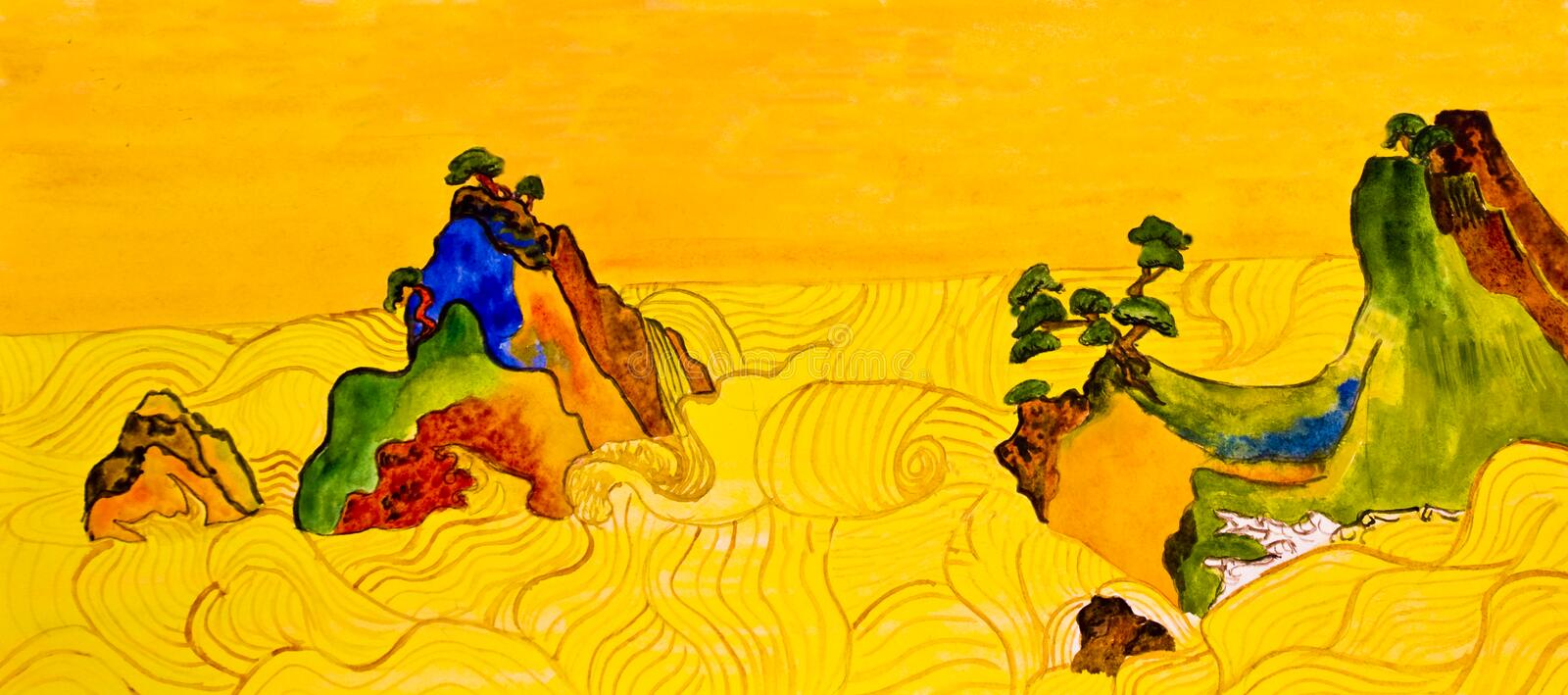 Hand Painted Picture In Traditions Of Japanese Art Royalty Free Stock Images