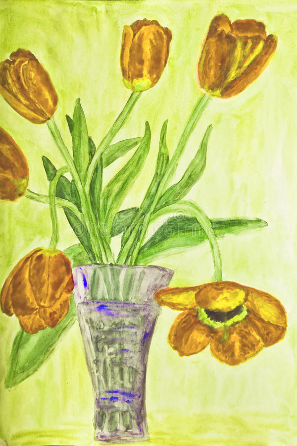 Hand painted picture, tulips in vase royalty free illustration