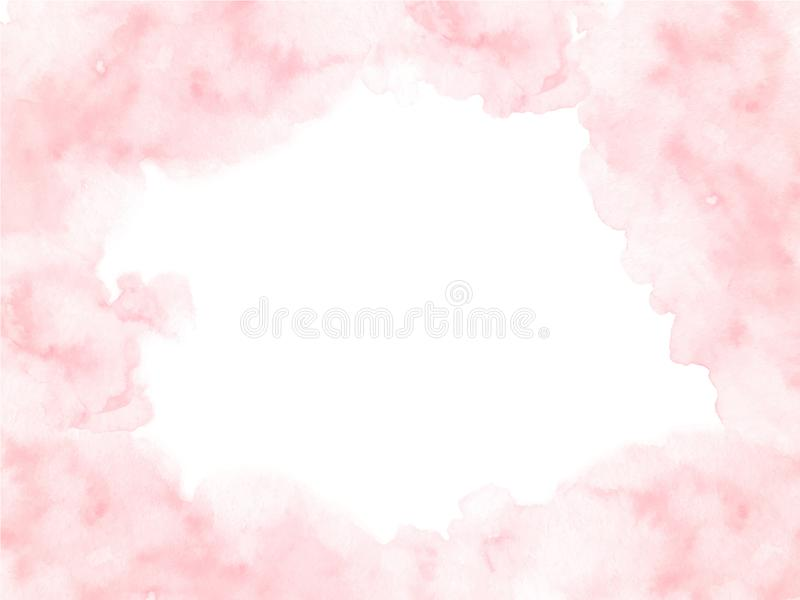 Hand painted pink watercolor border texture with soft edges isolated on the white background. vector illustration