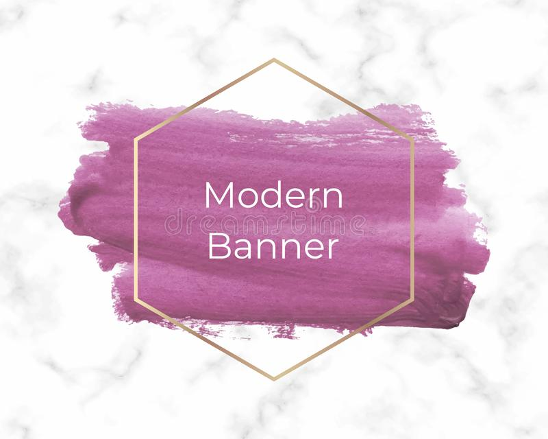 Hand painted pink watercolor brush stroke with golden frame on the marble texture. Trendy splash template for banner, flyer, poste stock photography
