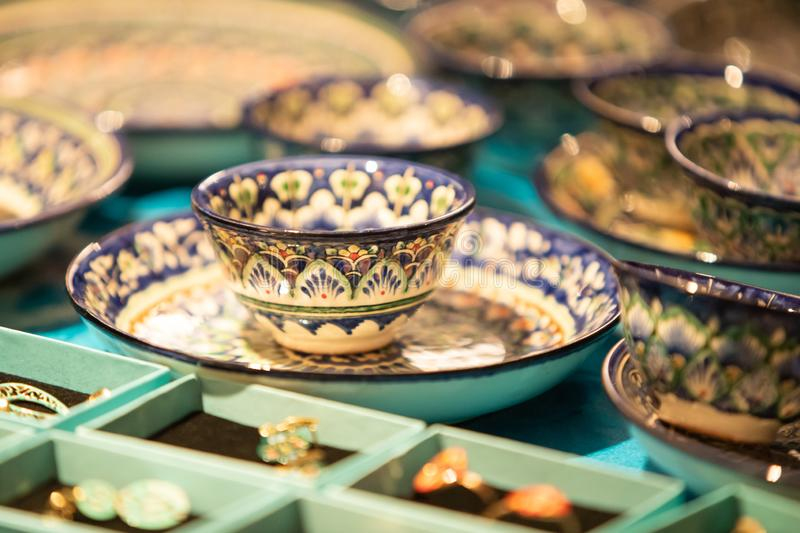 A hand painted porcelain saucer and cup from uzbekistan royalty free stock photography