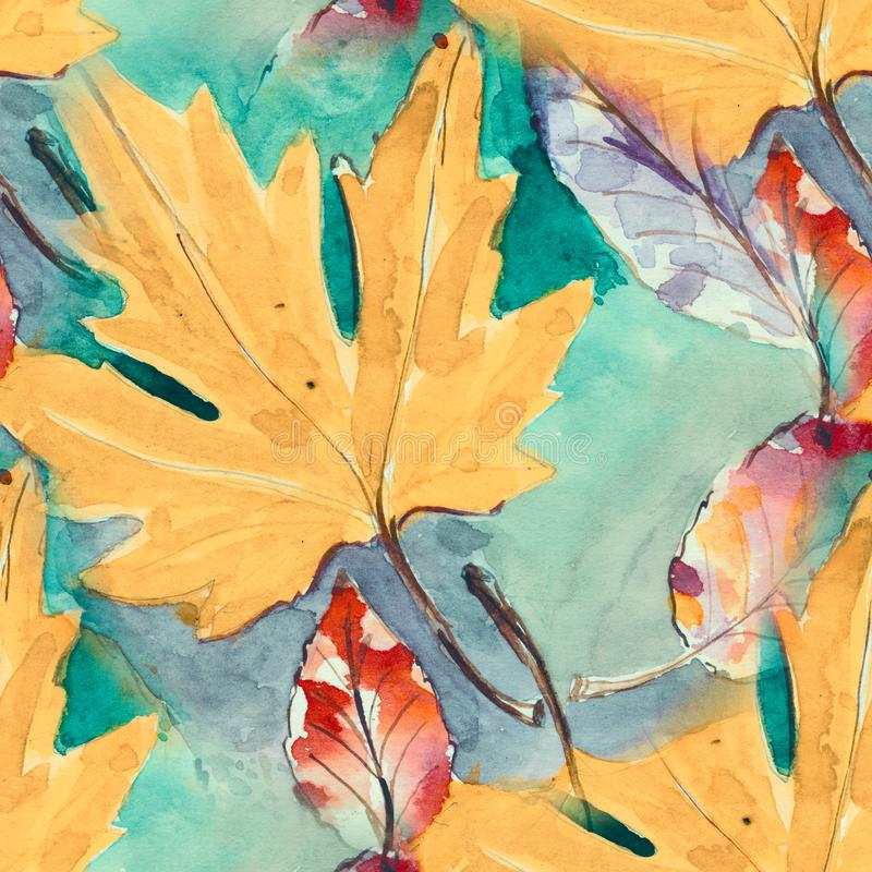 Hand painted seamless pattern. watercolour autumn leaves. beautiful nature element. illustration. digital drawing and royalty free illustration