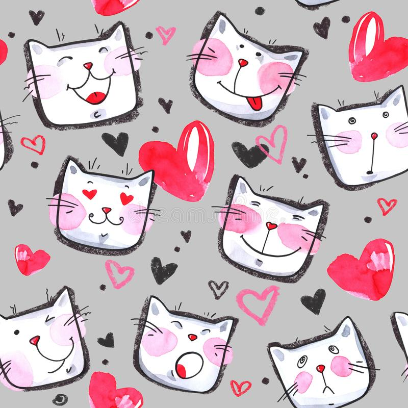 Hand painted seamless pattern with cute kittens. Watercolor bright cartoon cats on the white background. Lovely texture. royalty free illustration
