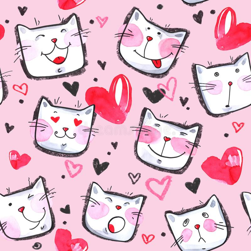 Hand painted seamless pattern with cute kittens. Watercolor bright cartoon cats on the white background. Lovely texture. stock illustration