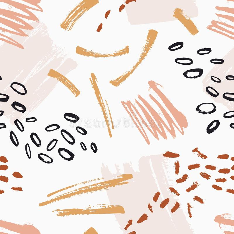 Hand painted seamless pattern with rough motley brush strokes, stains, scribble, spatter on white background. Backdrop. With abstract paint marks. Modern vector vector illustration