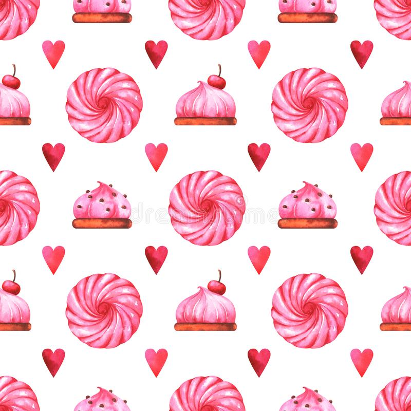 Hand painted seamless pattern with watercolor cake, marshmallow and red heart vector illustration