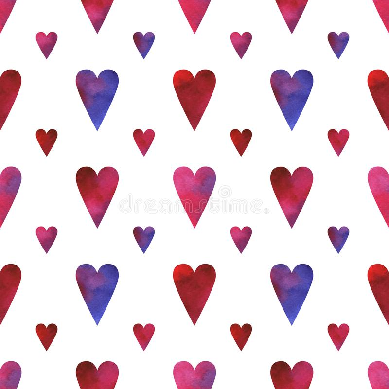 Hand painted seamless pattern with watercolor hearts in blue, pink, red and purple colors isolated on white background royalty free illustration