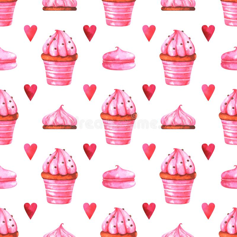 Hand painted seamless pattern with watercolor muffin, cake, marshmallow and red heart royalty free illustration