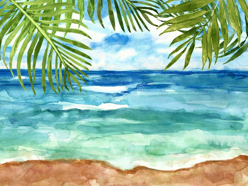 Hand drawn beach view. Watercolour sea, sky and tropical leaves. Summer seaside background vector illustration
