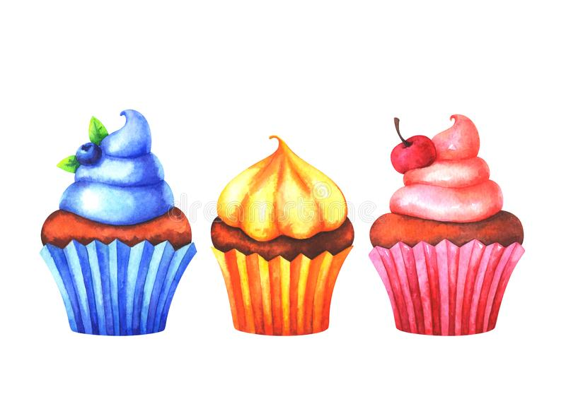 Hand painted set of watercolor colorful muffins vector illustration