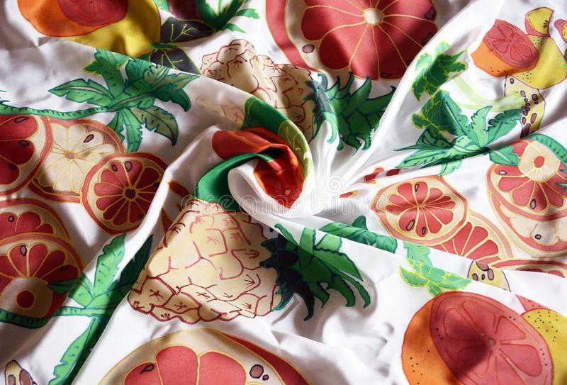 Hand painted silk scarf. Exotic fruit set. stock image