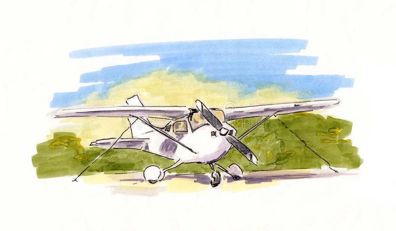 Hand painted sketch of small propeller plane stock illustration