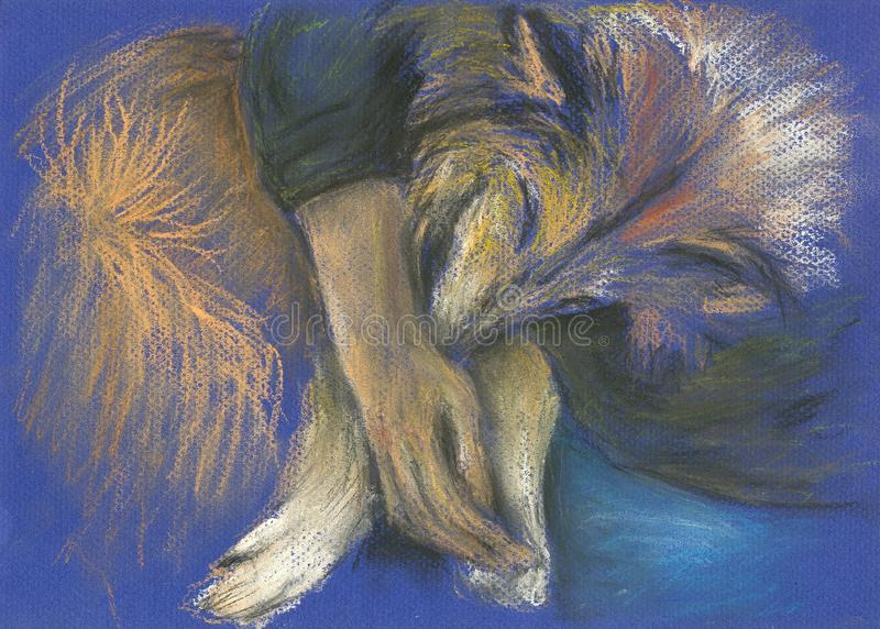 Download Hand Painted Sleeping Collie Dog Stock Illustration - Image: 18227071