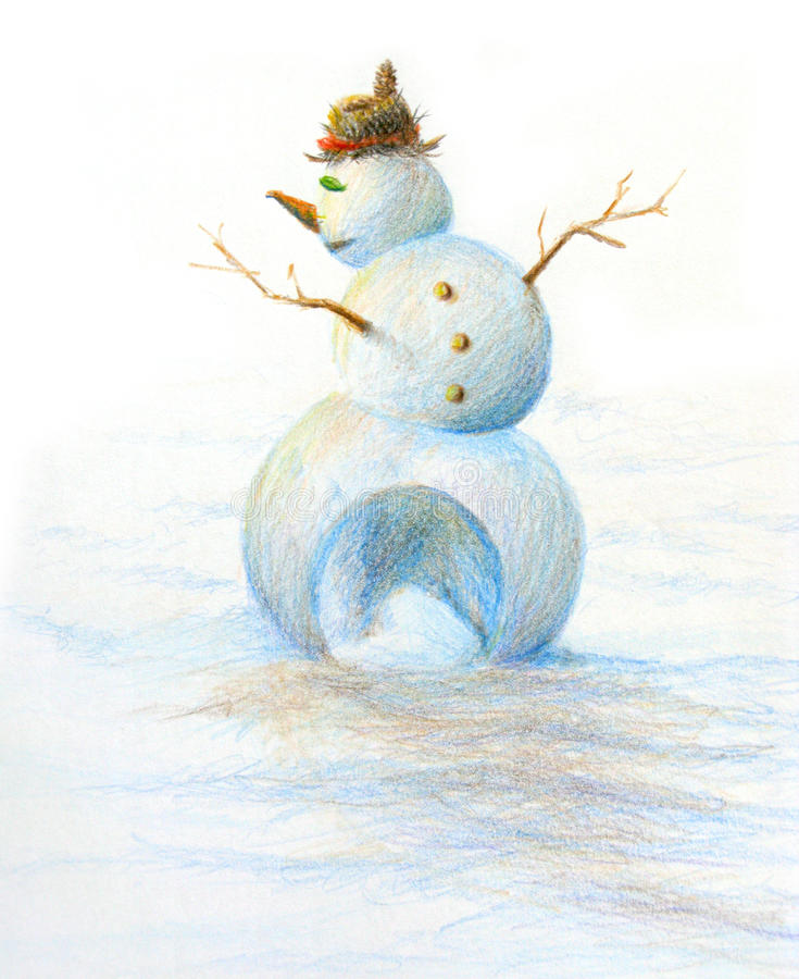Snowman hand painted Christmas art. Snowman drawing, color pencil on paper. 100% original, unique and non-traditional design pose for Christmas seasonal royalty free illustration