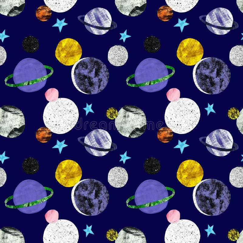 Hand painted space seamless pattern with stars and planets on dark blue background. Cosmos print with satellites . Sci fi vector illustration