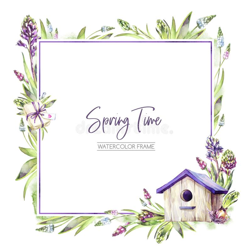 Download Hand Painted Square Frame With Hyacinths Flowers Leaves And Birdhouse Spring Rustic Watercolor