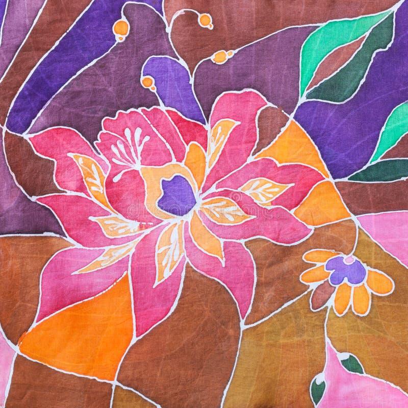 Hand painted stylized flower on silk batik scarf stock illustration