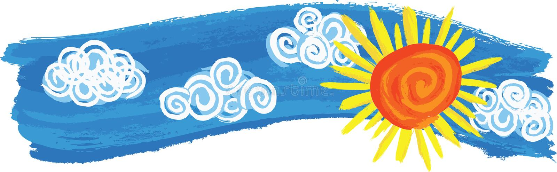 Hand Painted Summer Skyline royalty free illustration