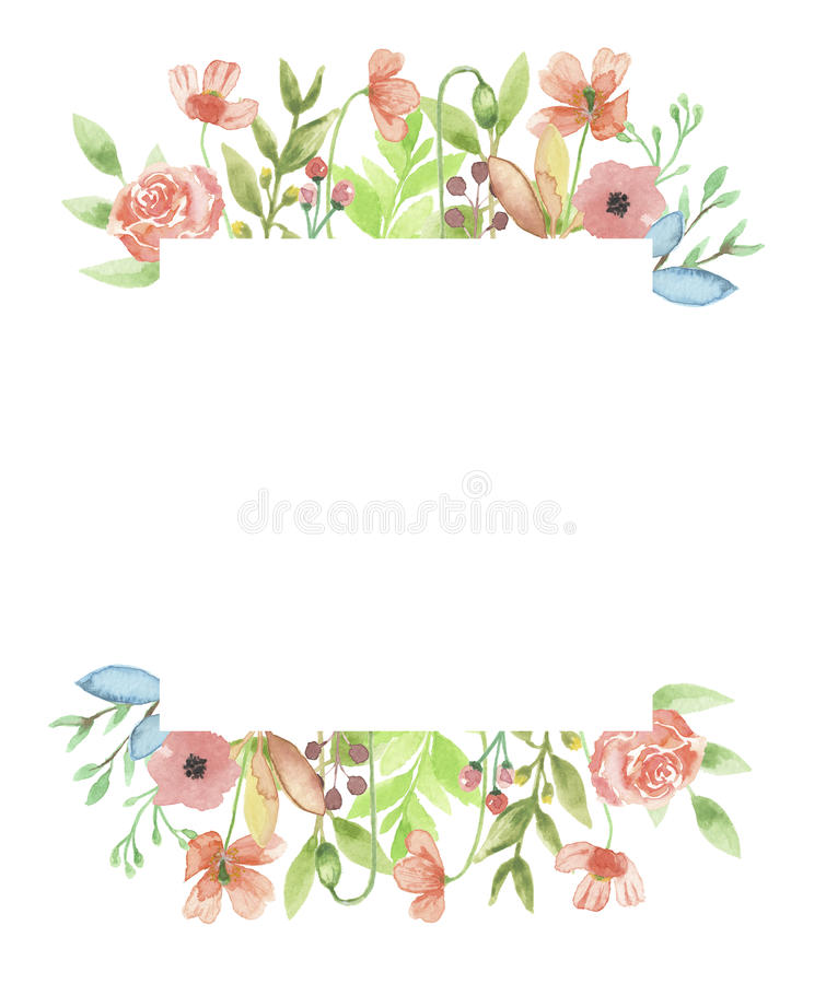 Watercolor Poppy Frame Summer Flower Floral Hand Painted Stock ...