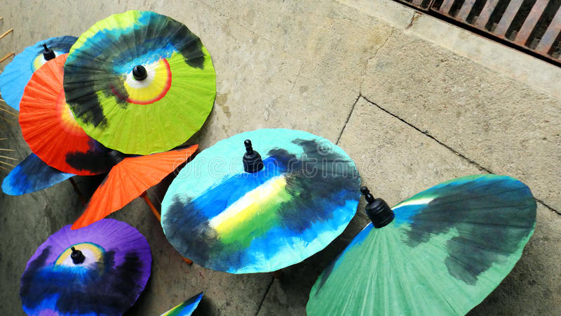 Hand painted umbrellas, thai factory royalty free stock photos