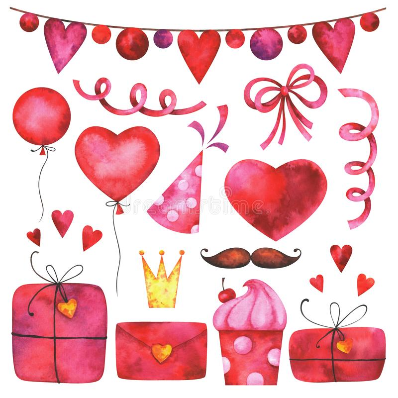 Hand painted Valentine`s day clip art set vector illustration