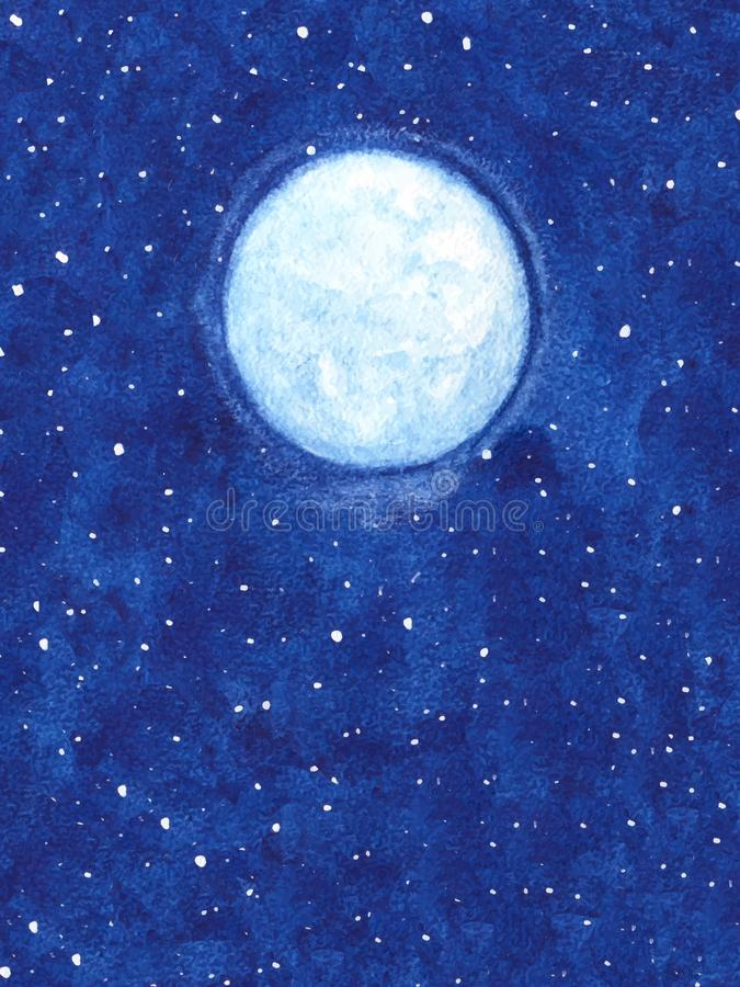 Hand painted vector shining moon with stars on the night sky illustration. Watercolor abstract painting stock illustration