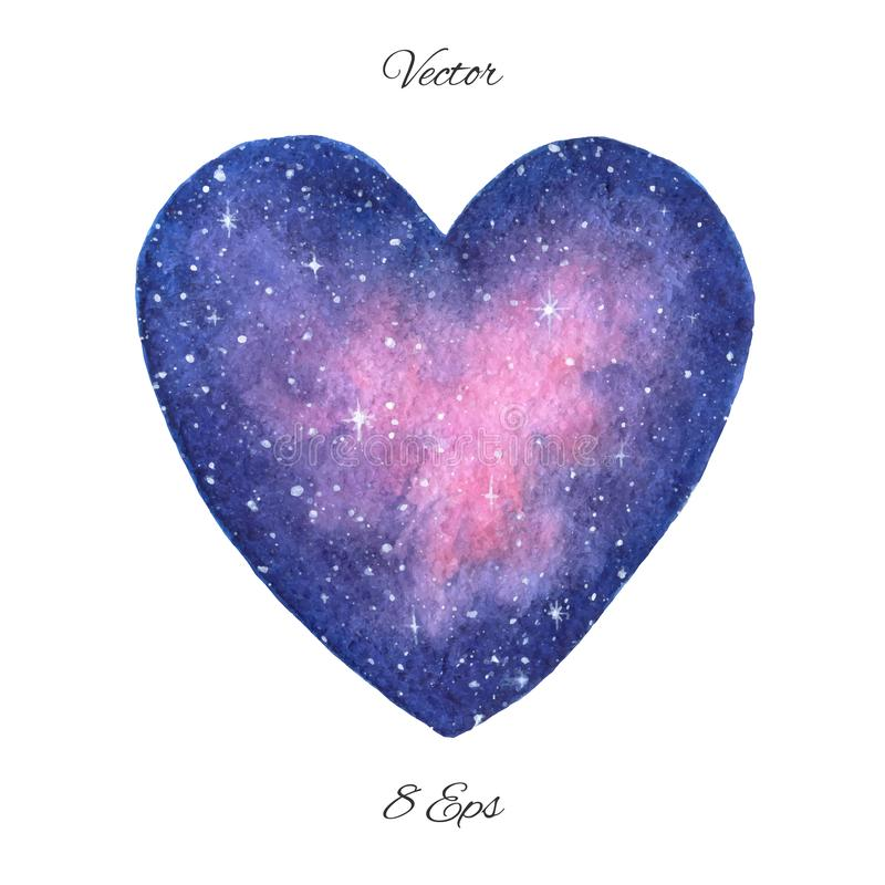 Hand painted vector space illustration in shape of a heart isolated on the white background. Watercolor style royalty free illustration