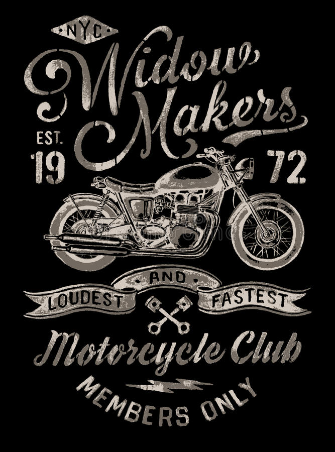 Hand Painted Vintage Motorcycle Graphic vector illustration