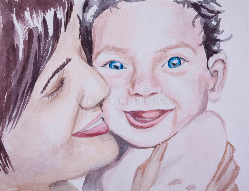 Hand painted watecolor portrait of lovely family mother and bab. Hand painted watecolor portrait of a lovely family mother and baby royalty free illustration