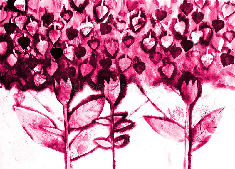 Download The Hand Painted Watercolo Of Stylized Flowers Stock Photo - Image: 20761324