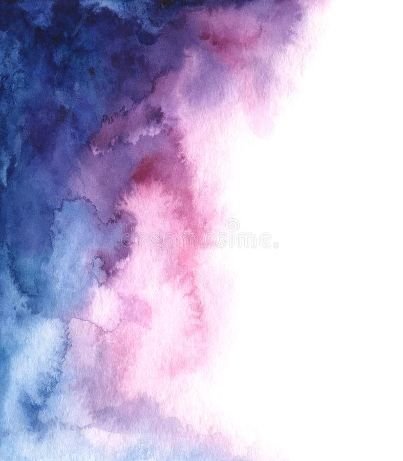 Hand painted watercolor abstract blue, pink and purple gradient background stock illustration