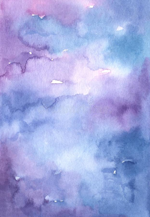 Watercolor abstract blue and purple gradient background royalty free illustration