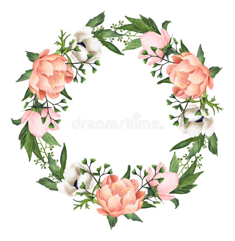 Hand-painted Watercolor Anemones And Peonies Wreath stock illustration