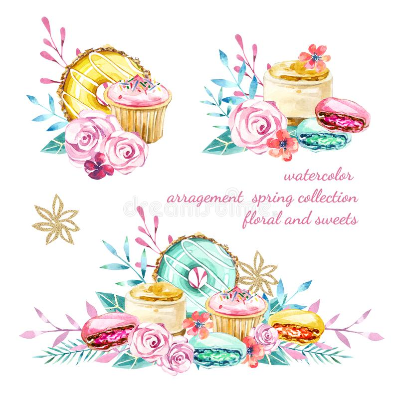 Watercolor arragement spring summer collection, floral and sweets stock illustration