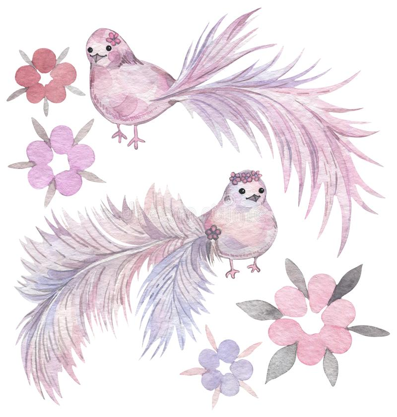 Cartoon birds with frosty tails and flowers. Hand drawn watercolor set. stock illustration