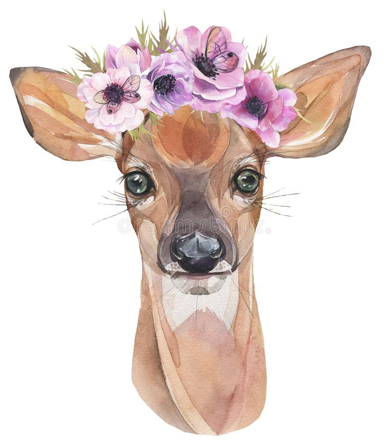 Watercolor illustration. Cute fawn with flowers. Baby deer. vector illustration