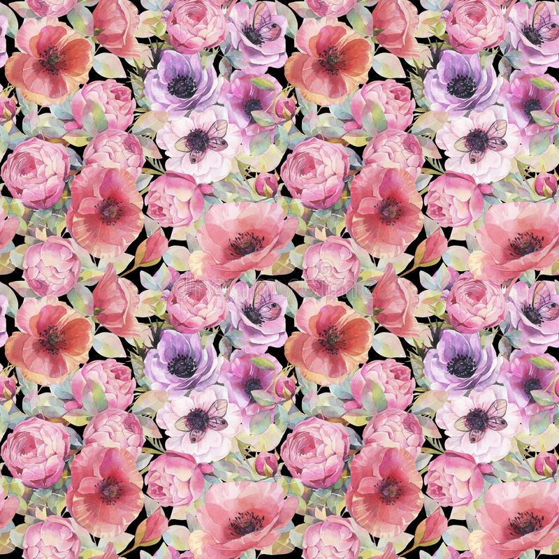 Watercolor seamless pattern with flowers, anemones, poppies, roses and butterflies. Romantic botanical wallpaper. royalty free illustration